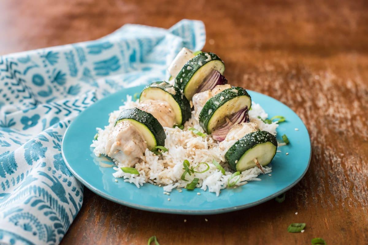 Hähnchen-Gemüse-Spieße mit Basmatireis