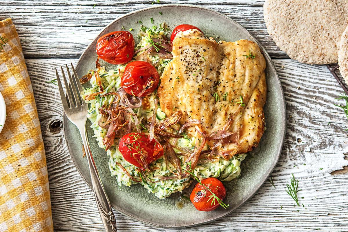 Herbed Chicken Over Zucchini Risotto
