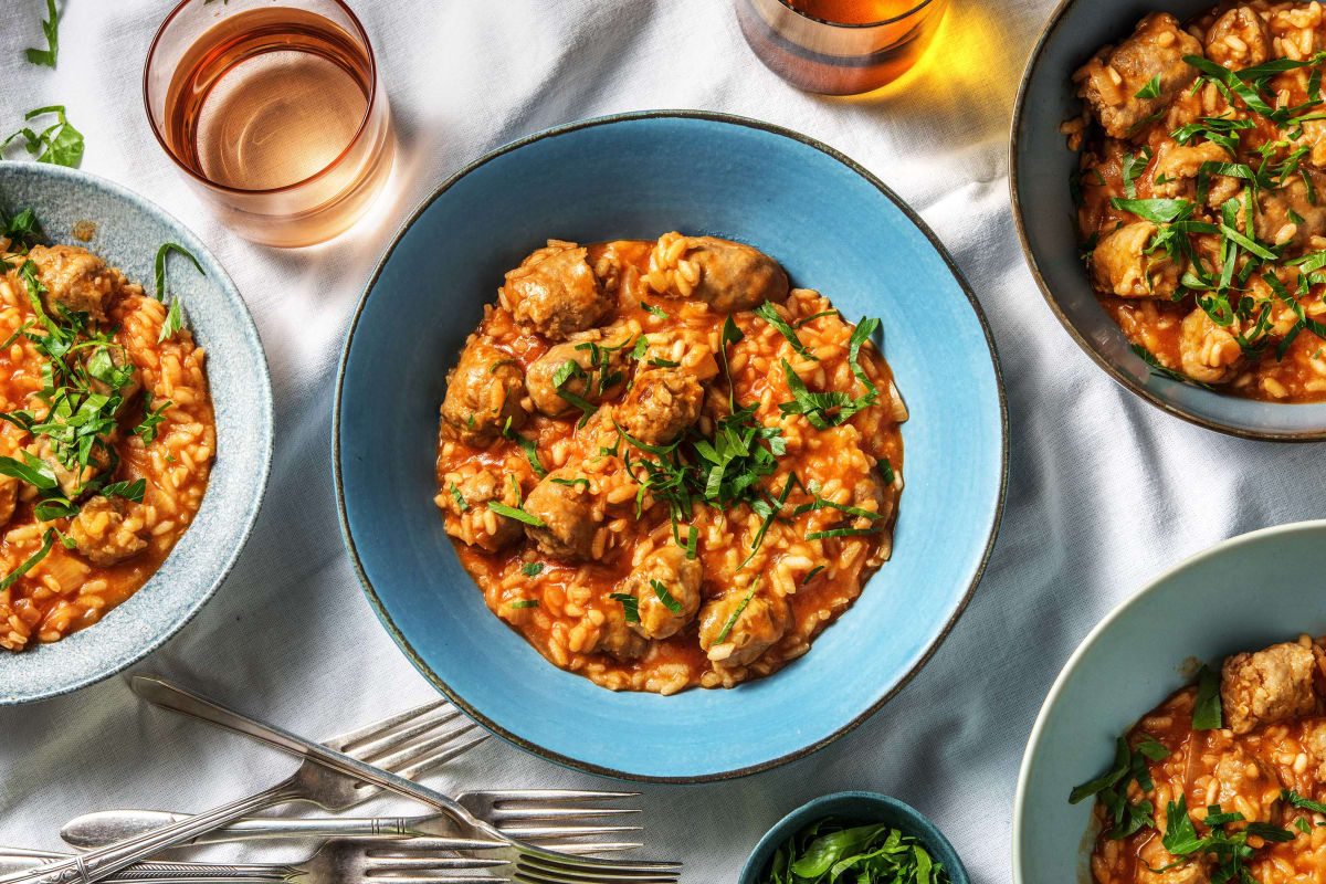 Italian Sausage Tomato Risotto with Tuscan Pork Sausage and Fennel Seeds