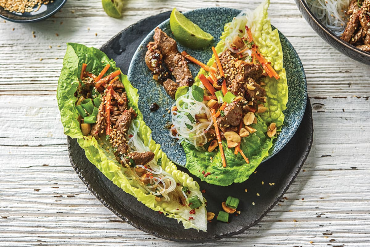 Korean Style Beef & Vermicelli Noodle Lettuce Cups