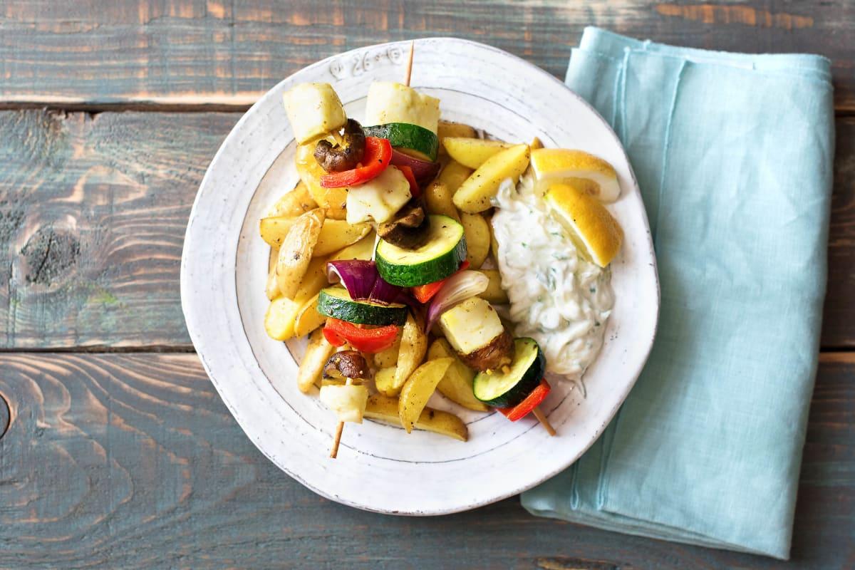 Köstliche Gemüse-Grillkäse-Spiessli