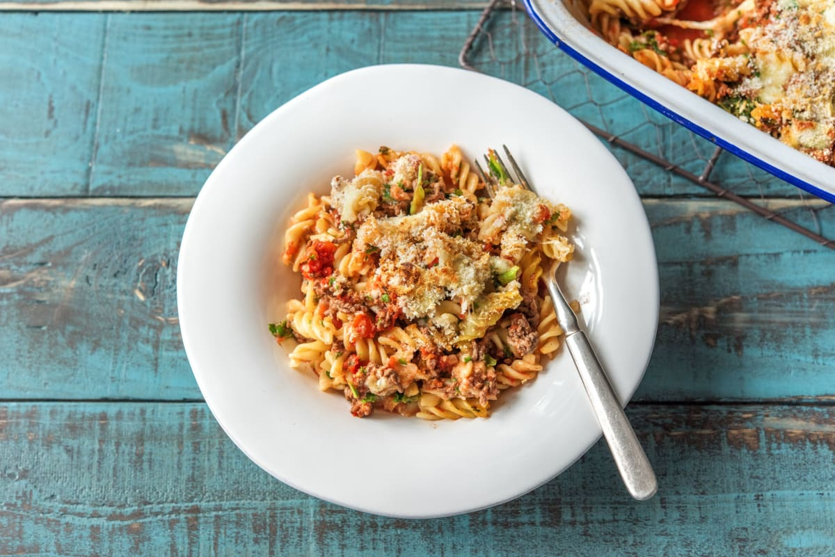 Lasagna-Baked Fusilli with Kale and Mozzarella