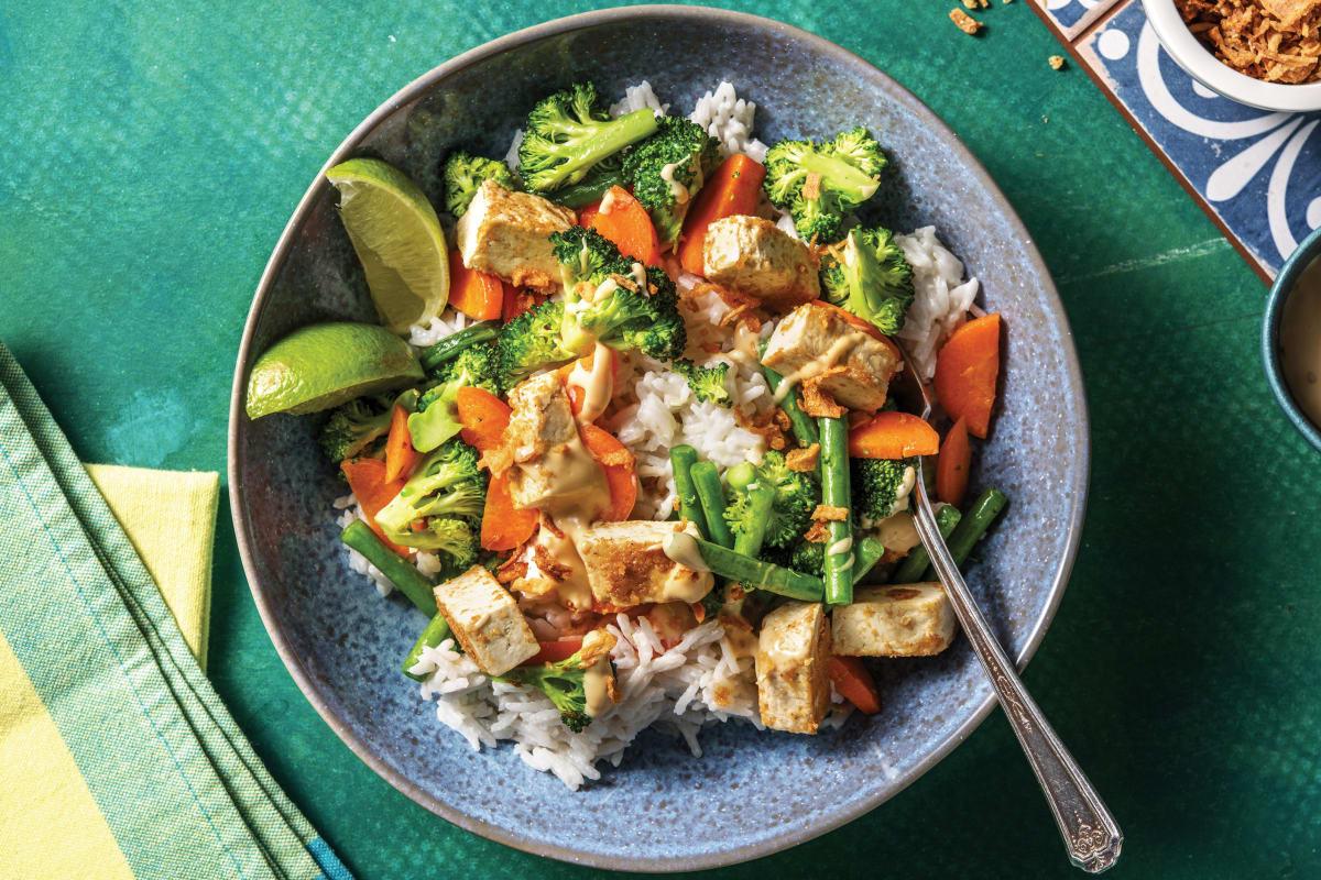Malaysian Tofu Rice & Veggie Bowl