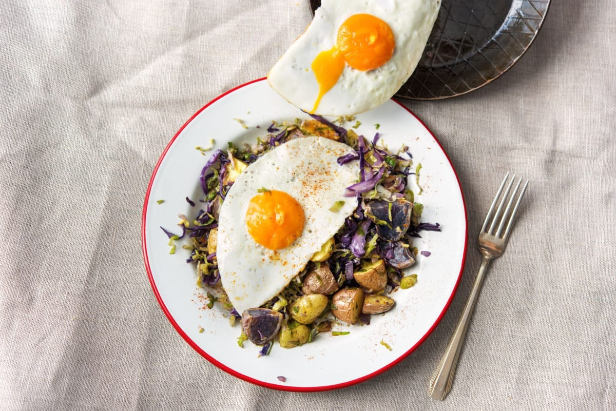 Marble Potato and Brussels Sprout Hash
