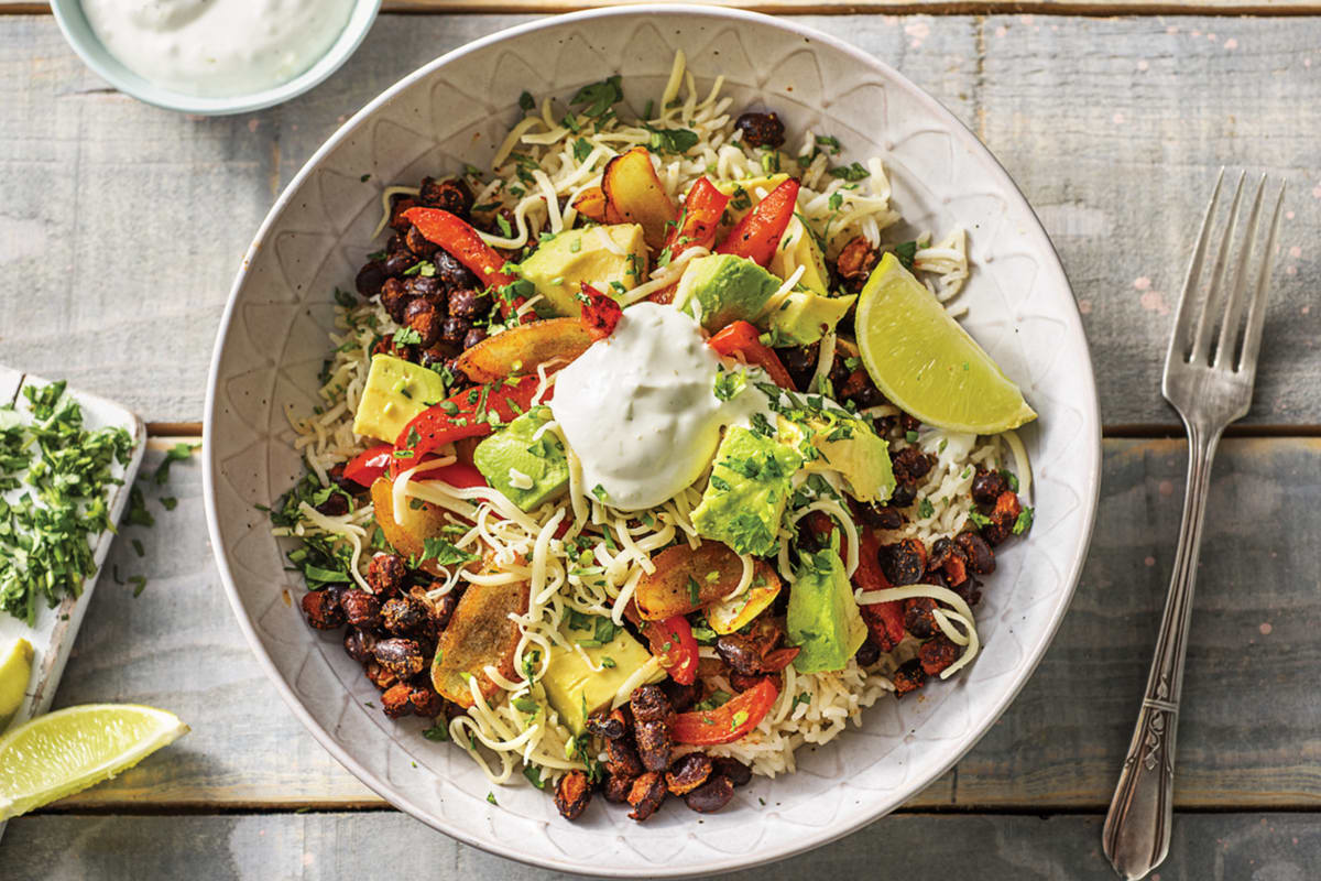 Black Bean Fajita Rice Bowl