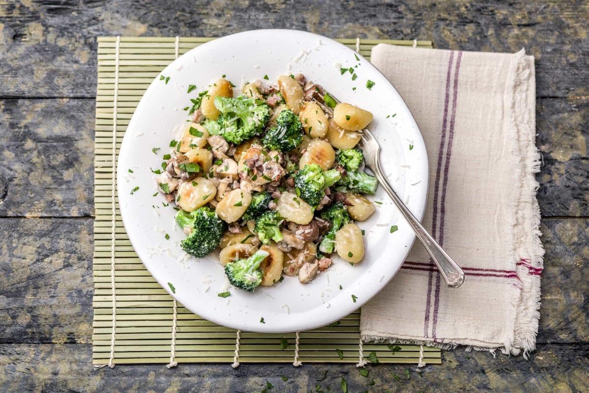 Mushroom, Broccoli and Pancetta Gnocchi