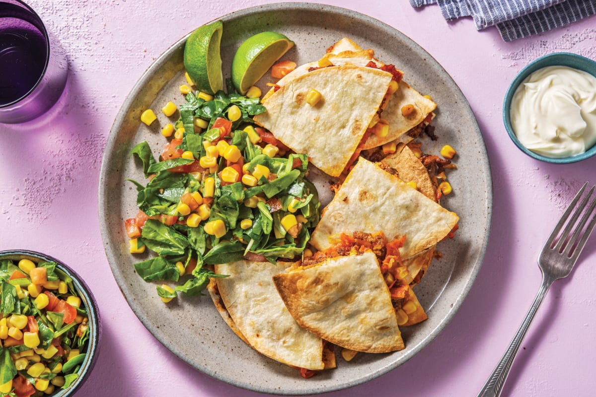 Baked Beef & Corn Quesadillas