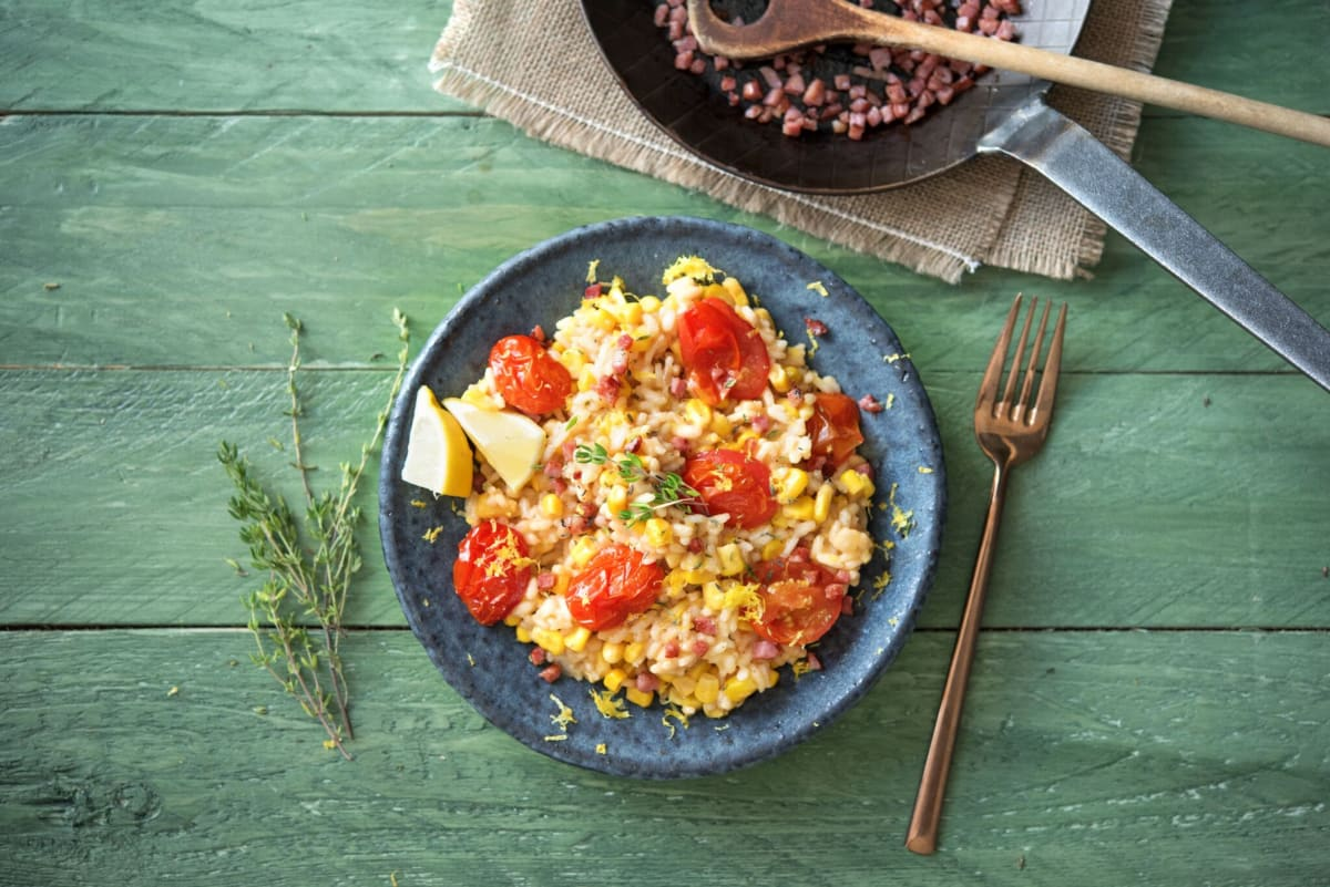 Oven-Baked Corn and Tomato Risotto