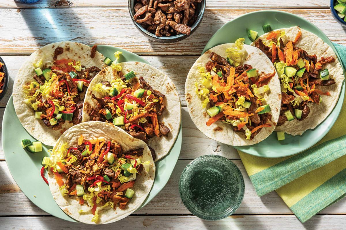 Speedy Peanut Beef Tacos