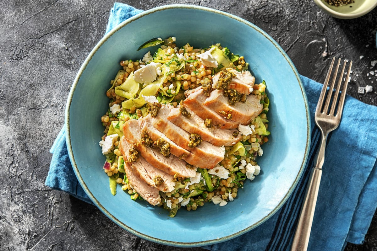 Pesto Chicken with Lemony Couscous