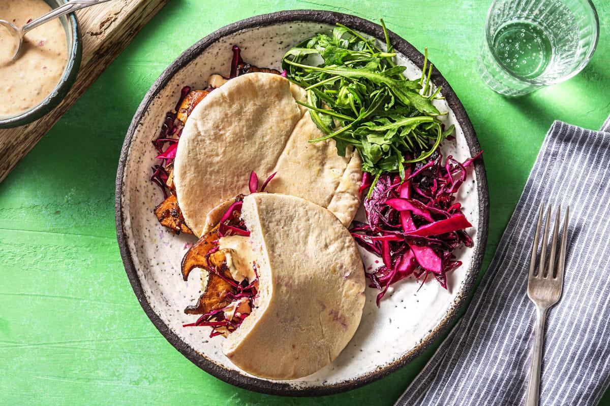 Pittige vegetarische shoarma van koningsoesterzwam