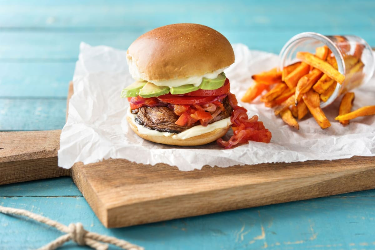 Portobello Burgers and Sweet Potato Fries