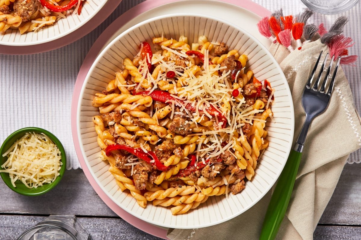 Sausage and Roasted Red Pepper Pasta