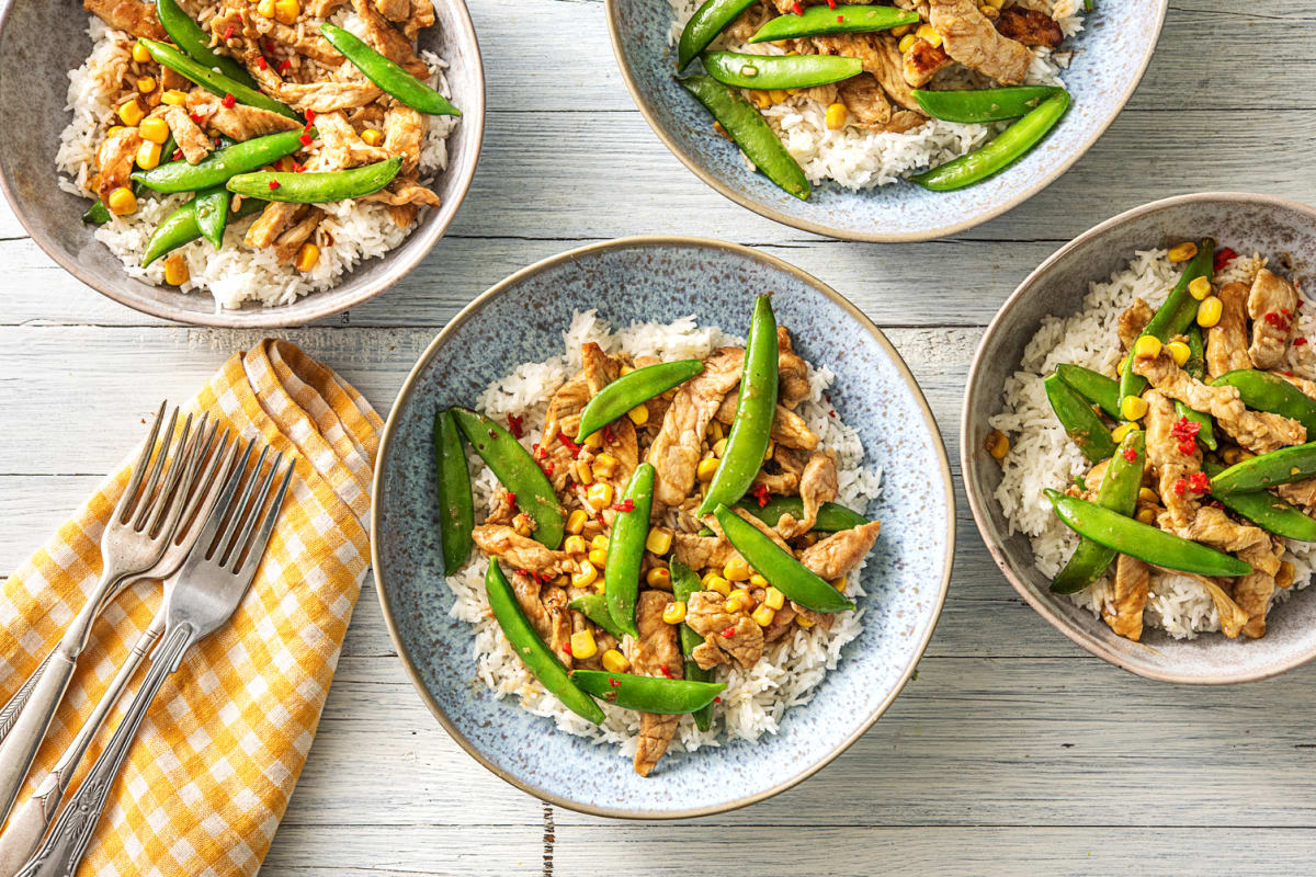 Speedy Ginger Pork Stir-Fry with Sugar Snap Peas and Corn