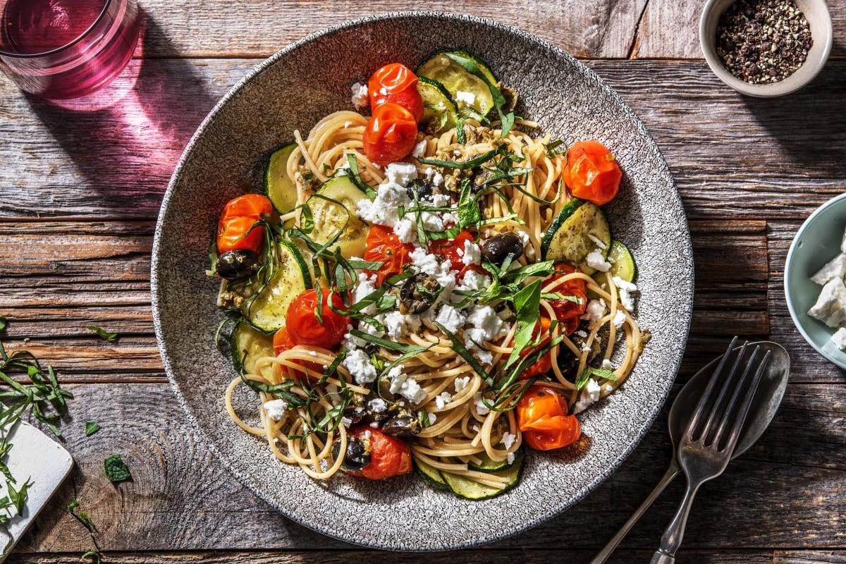 Spaghetti met geroosterde groenten
