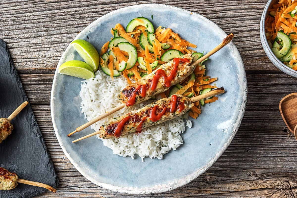 Sriracha Turkey Lemongrass Skewers