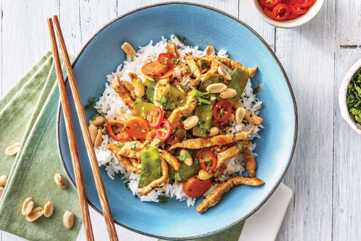 Chinese Sweet Chilli & Hoisin Pork Stir-Fry with Steamed Rice & Peanuts