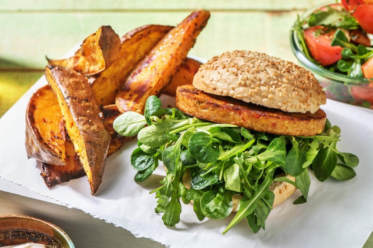 Vegetarische burger met zoete-aardappelpartjes