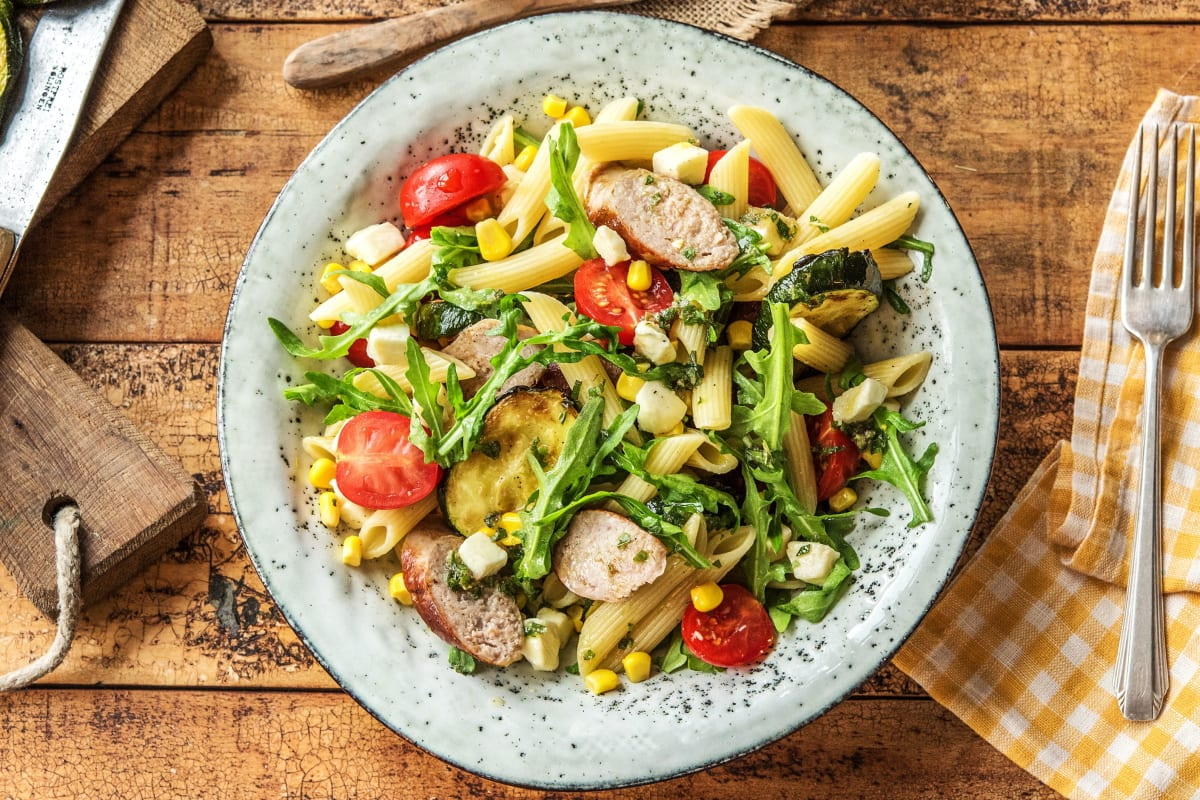 Penne with Sausage, Corn, and Zucchini