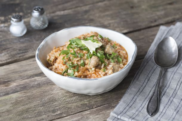 Mythical Herbed Pork and Tomato Risotto