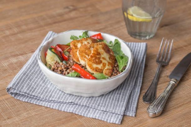 Lentil and Charred Vegetable Halloumi Salad