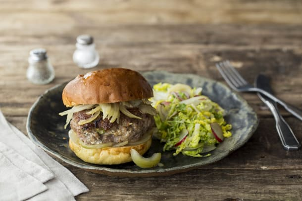 Minted Lamb and Feta Burgers