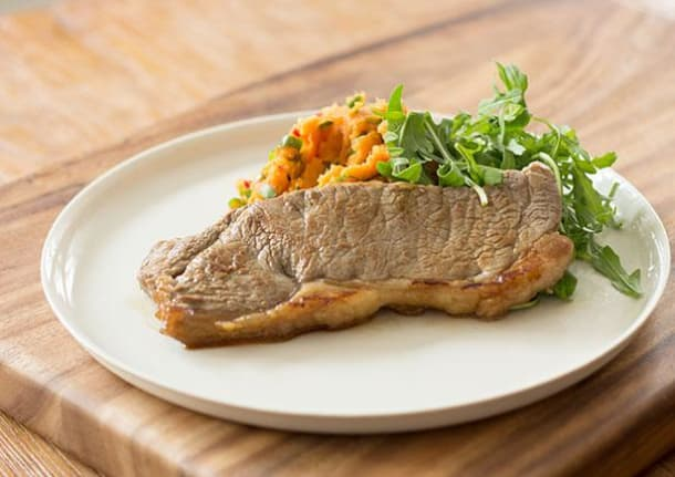 Low Carb Recipes - Seared Soy Steak with Sweet Potato Mash