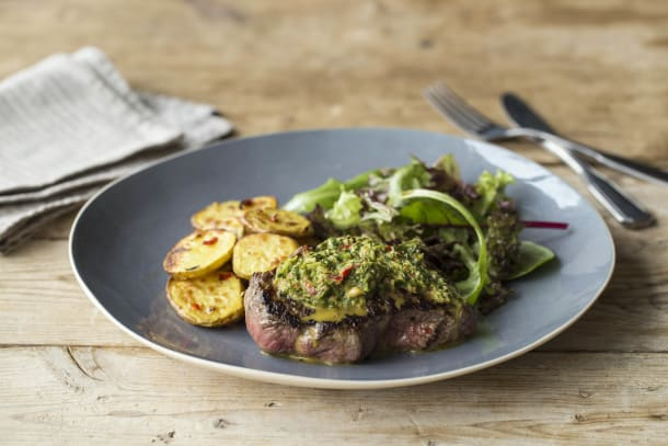 Steak with Chimmichurri & Chilli Potatoes