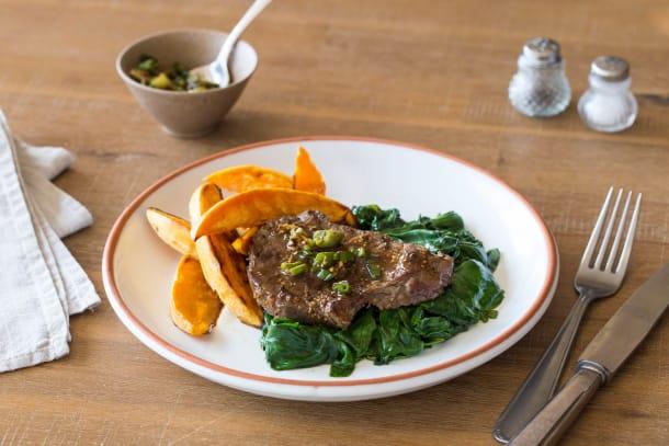 Speedy Saucy Steak with Sweet Potato Wedges