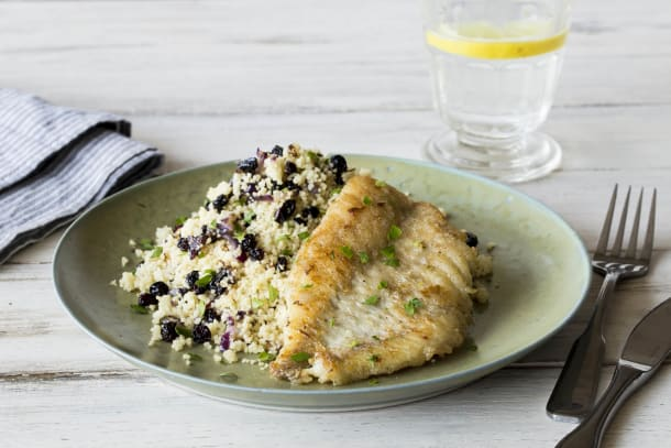 Pan-Fried Fish with Zesty Currant Couscous