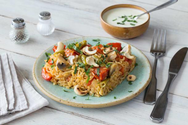 Bunt gemischte Gemüse-Paella