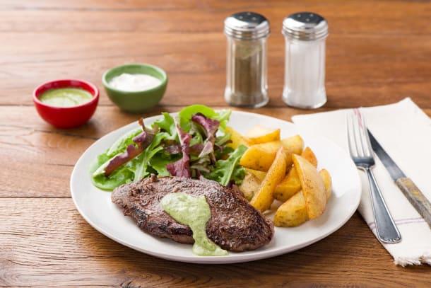 Chimichurri Lamb with Chips & Green Aioli