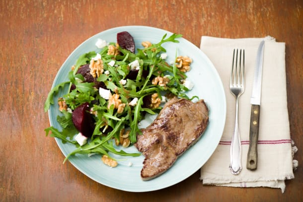 Low Carb Recipes - Steak with Beetroot, Fetta & Walnut Salad