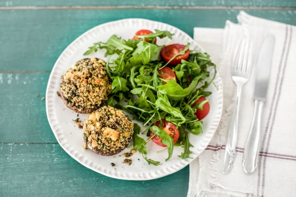 Low Carb Recipes - Stuffed Mushrooms with Garden Salad
