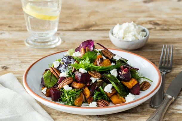 Low Carb Recipes - Roast Vegetable, Pecan & Goat Cheese Salad