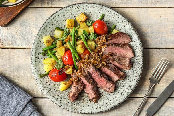 Steak and Crispy Potato Salad