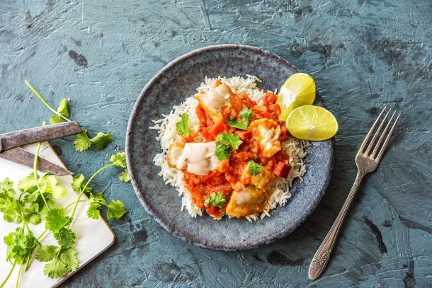 Mijoté de poisson à la brésilienne, riz et coriandre