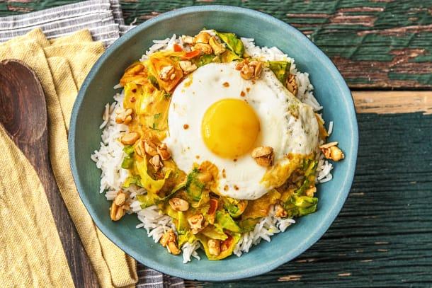 Curry de chicorée à l'orientale avec son oeuf au plat
