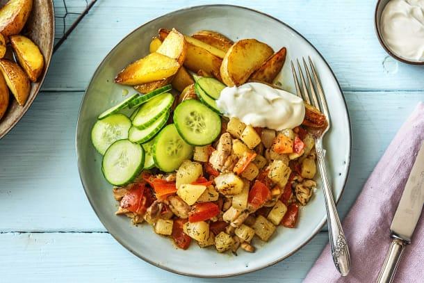 Gyros de poulet et pommes de terre rissolées