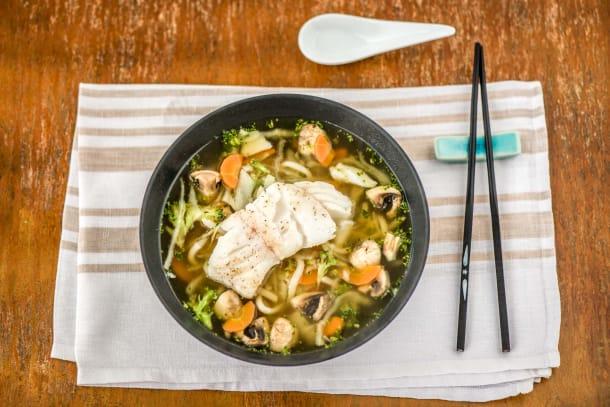 Caloriearme recepten - Japanse ramen met kabeljauw