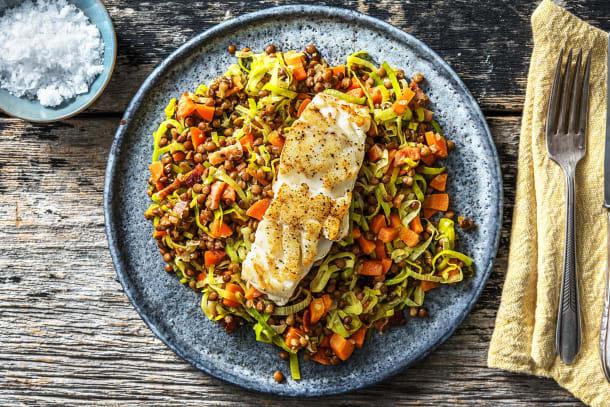 Caloriearme recepten - Schelvisfilet met linzen en spekjes
