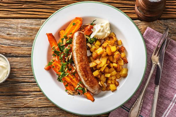 Saucisse de porc Brandt & Levie et patatas bravas