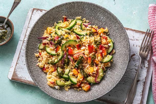 Sommerlicher Orzo-Salat mit Nektarine
