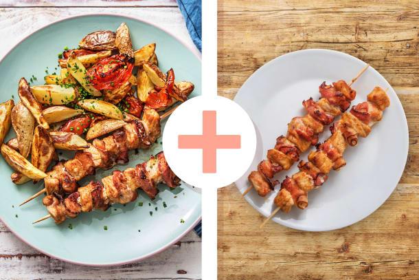 Gyrosspiesse mit Bacon und Tzatziki