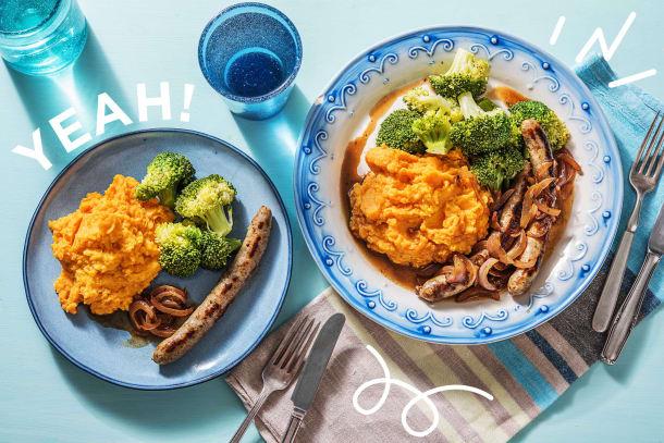Leckere Bratwurst mit Brokkoli