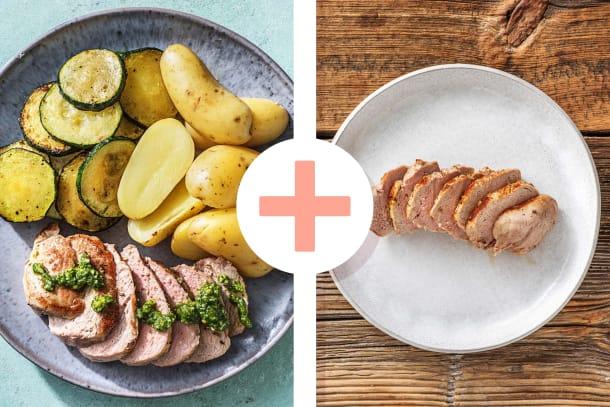 Pesto-Schweinefilet mit Ofenkartoffeln