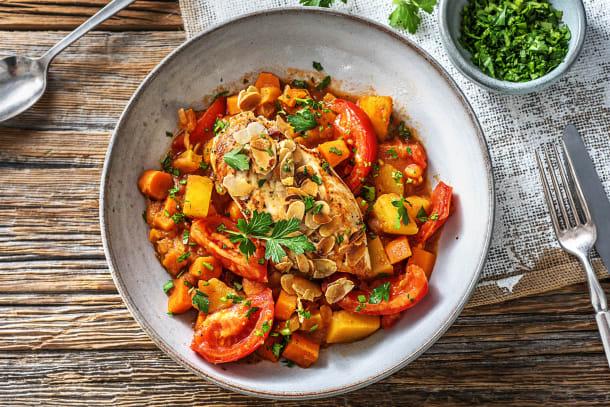 Filet de poulet et mijoté de légumes sucré et épicé