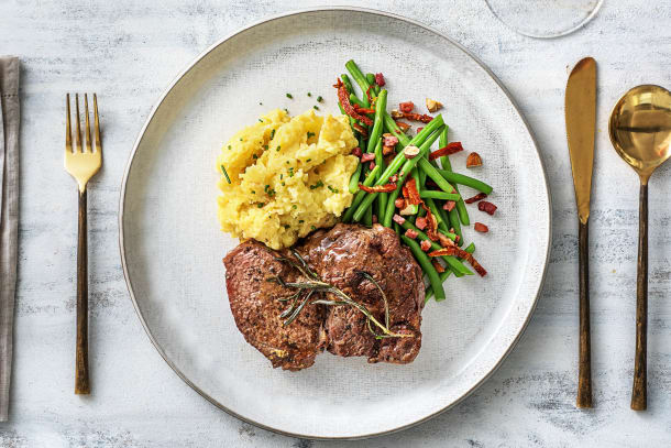 Faux-filet de bœuf à l'ail et au romarin