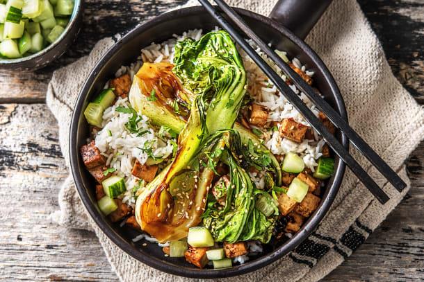 Tofu épicé et pak-choï grillé