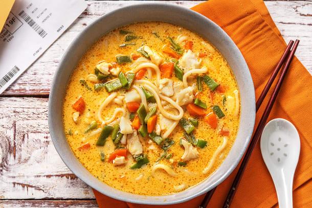 Soupe piquante à la noix de coco et à l'églefin